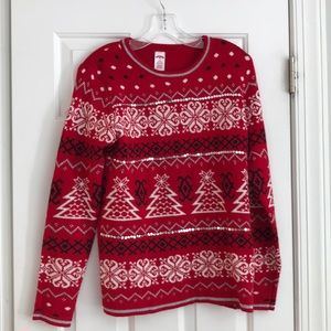 Holiday Time Red Ugly Christmas Sweater M